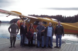 Travelers from left:  Pilot Kris Peterson, Margaret Bosworth, Leight Thomet, Mike Steelman, James Hathcock, and Lloyd Shanley.