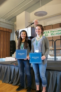 From left:  Jade Ponte and Elinore Millstein, 2015 Youth Rally Leadership Camp Scholarship Recipients