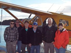 From left: Pilot Jordan Silver, Lloyd Shanley, Ted Goossen, Ken Reinke, Sam Chelmo, and Shelby Pruitt.