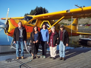 From Left: Lloyd Shanley, Lisa Kostelecky, Gretchen Wing, Esther Waddell, and Richard Waddell prepare to board their plane to Terror Lake.
